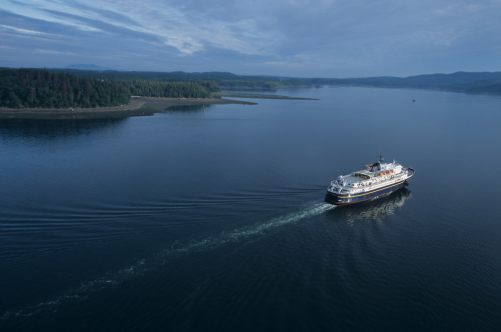 Canada, British Columbia, Alaska State Ferry sails into Prince Rupert Harbour during stop along Inside Passage