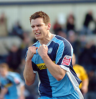 Photo: Leigh Quinnell.<br /> Wycombe Wanderers v Shrewsbury Town. Coca Cola League 2. 11/03/2006. Wycombes Matt Bloomfield celebrates his goal.
