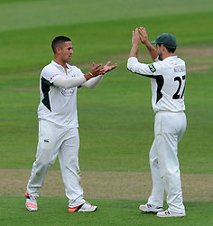 Worcestershire's Brett D'Oliviera celebrates after dismissing Somerset's Marcus Trescothick for 85.- Photo mandatory by-line: Harry Trump/JMP - Mobile: 07966 386802 - 21/08/15 - SPORT - CRICKET - LV County Championship Division One - Day One - Somerset v Worcestershire - The County Ground, Taunton, England.