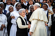 Pope Francis greets a group of nuns at the end his weekly general audience, in St. Peter's Square, at the Vatican, May 9, 2018.