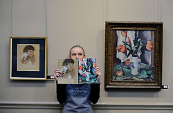 Pictured: Romey Clark from Bonham's auctioneers with two of the highlights of the sale, Joan Eardley's pastel 'girl eating a melon' estimated at &pound;20-30,000 GBP and Samuel Peploe's 'Tulips in a chinese vase' estimated at &pound;220-280,000 GBP.<br /> <br /> &copy; Dave Johnston / EEm