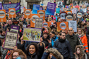 In Whitehall - #March4Women 2018, a march and rally in London to celebrate International Women's Day and 100 years since the first women in the UK gained the right to vote.  Organised by Care International the march stated at Old Palace Yard and ended in a rally in Trafalgar Square.