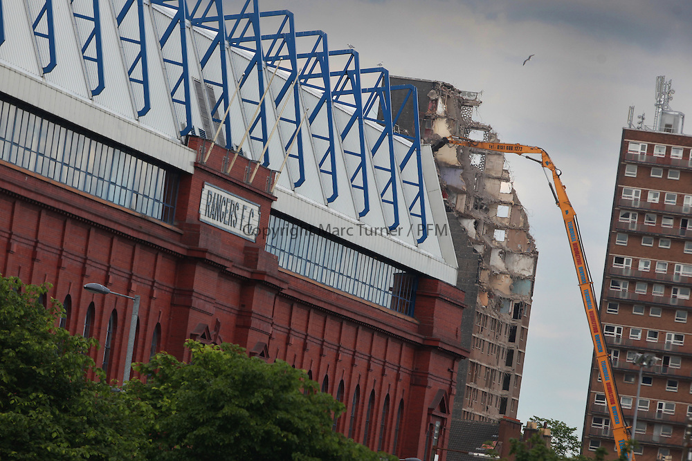 Ibroxholm Oval Demolition sets the current backdrop for Ibrox Stadium,  home of Glasgow Rangers the day after Liquidation becomes a reality for the Glasgow Club