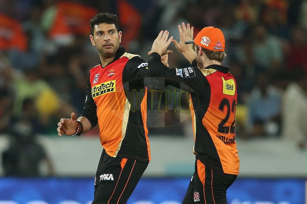 Yuvraj Singh of Sunrisers Hyderabad is congratulated by Kane Williamson of Sunrisers Hyderabad for taking the catch to get Mayank Agarwal of Delhi Daredevils wicket during match 42 of the Vivo IPL 2016 (Indian Premier League) between the Sunrisers Hyderabad and the Delhi Daredevils held at the Rajiv Gandhi Intl. Cricket Stadium, Hyderabad on the 12th May 2016<br /> <br /> Photo by Shaun Roy / IPL/ SPORTZPICS