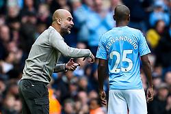 Manchester City manager Pep Guardiola speaks to Fernandinho of Manchester City - Mandatory by-line: Robbie Stephenson/JMP - 06/10/2019 - FOOTBALL - Etihad Stadium - Manchester, England - Manchester City v Wolverhampton Wanderers - Premier League