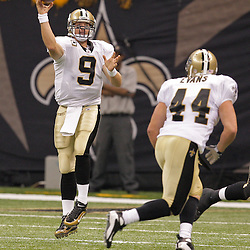 2009 September 13: New Orleans Saints quarterback Drew Brees (9) throws to fullback Heath Evans (44) during a 45-27 win by the New Orleans Saints over the Detroit Lions at the Louisiana Superdome in New Orleans, Louisiana.