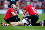 An injured Bradford Bulls scrum half Joe Keyes (7) is looked over before having to leave the field injured during the Kingstone Press Championship match between Dewsbury Rams and Bradford Bulls at the Tetley's Stadium, Dewsbury, United Kingdom on 4 June 2017. Photo by Simon Davies.