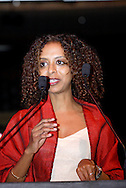 Fiction runner-up Maaza Mengiste (Beneath the Lion's Gaze) speaks during the 2011 Dayton Literary Peace Prize dinner and awards presentation at the Schuster Center in downtown Dayton, Sunday, November 13, 2011..