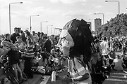 Man dancing in mask, Reclaim the Streets, Shepherd's Bush, London, July 1996