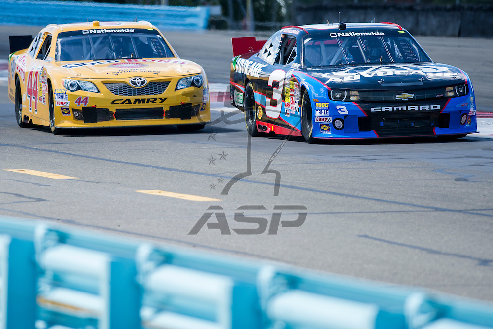 Watkins Glen, NY - AUG 10, 2013: The NASCAR Nationwide Series teams take to the track for the Zippo 200 at the Watkins Glen International in Watkins Glen, NY