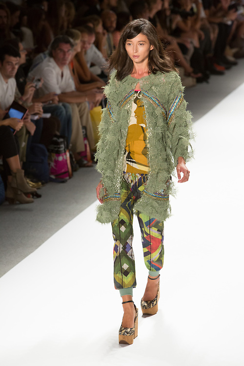 Print pants with elastic cuff hem, print T, and an openweave jacket with beaded trim. By Custo Barcelona at the Spring 2013 Fashion Week show in New York.