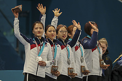 February 25, 2018 - Gangneung, GANGWON, SOUTH KOREA - Feb 25, 2018-Gangneung, South Korea-South Korea Olympic Curling Team medal ceremony after match during an Olympic Couling Women's Gold Medal Game at Curling Center in Gangneung, South Korea. Match Won Sweden. Score by 8-3. (Credit Image: © Gmc via ZUMA Wire)
