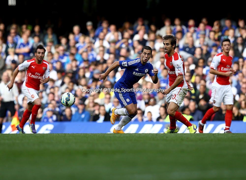 5 October 2014 - Barclays Premier League - Chelsea v Arsenal - Eden Hazard of Chelsea in action with Mathieu Flamini of Arsenal - Photo: Marc Atkins / Offside.