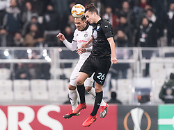 (L-R) Adriano Correia Claro of Besiktas JK , Andreas Vindheim of Malmo FF during the UEFA Europa League group I match between between Besiktas AS and Malmo FF at the Besiktas Park on December 13, 2018 in Istanbul, Turkey