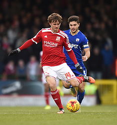 Swindon Town's John Swift on the attack against Chesterfield in the Sky Bet League One match between Swindon Town and Chesterfield at The County Ground on January 17, 2015 in Swindon, England. - Photo mandatory by-line: Paul Knight/JMP - Mobile: 07966 386802 - 17/01/2015 - SPORT - Football - Swindon - The County Ground - Swindon Town v Chesterfield - Sky Bet League One