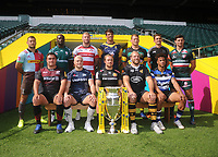 Rugby Union - 2017 / 2018 Aviva Premiership - New Season Launch Photocall<br /> <br /> (L-R) Back Row. Harlequins' Danny Care, London Irish's Topsy Ojo, Gloucester's Ross Moriaty, Worcester Warriors' Doncha O'Callaghan, Northampton Saints' Dylan Hartley, Newcastle Falcons' Toby Flood, Leicester Tigers' Ben Youngs. (L-R) Front Row. Saracens' Jamie George, Sale Sharks' James O'Connor, Exeter Chiefs' Jack Nowell, Wasps' James Haskell and Bath's Anthony Watson.  at Twickenham.<br /> <br /> COLORSPORT/ANDREW COWIE