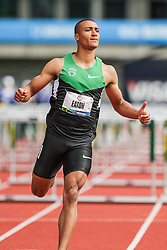 Ashton Eaton, Decathlon, 110 Hurdles, on his way to setting world record at USA Olympic Trials