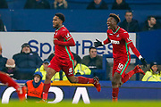 Swansea City midfielder Leroy Fer (8) scores a goal and celebrates to make the score 0-1 during the Premier League match between Everton and Swansea City at Goodison Park, Liverpool, England on 18 December 2017. Photo by Simon Davies.