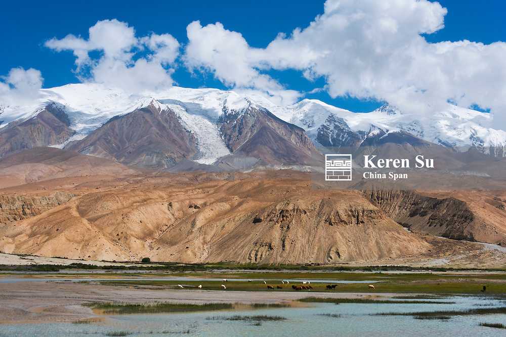 Karakuli Lake with Mt. Kunlun, Xinjiang Province, Silk Road, China