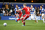 Middlesbrough FC midfielder Grant Leadbitter (7)takes a penalty kick during the Sky Bet Championship match between Queens Park Rangers and Middlesbrough at the Loftus Road Stadium, London, England on 1 April 2016. Photo by Andy Walter.
