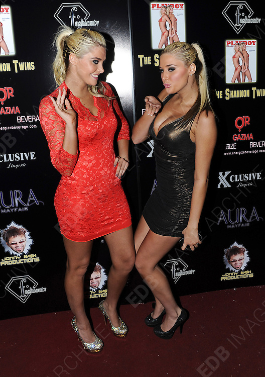 23.FEBRUARY.2012. LONDON<br /> <br /> KRISTINA AND KARISSA SHANNON - THE SHANNON TWINS AT THE AURA NIGHTCLUB IN LONDON<br /> <br /> BYLINE: EDBIMAGEARCHIVE.COM<br /> <br /> *THIS IMAGE IS STRICTLY FOR UK NEWSPAPERS AND MAGAZINES ONLY*<br /> *FOR WORLD WIDE SALES AND WEB USE PLEASE CONTACT EDBIMAGEARCHIVE - 0208 954 5968*