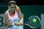 Agnieszka Radwanska from Poland competes in WTA women's tennis tournament BNP Paribas Katowice Open 2014 at Spodek Hall in Katowice, Poland.<br /> <br /> Poland, Katowice, April 08, 2014<br /> <br /> Picture also available in RAW (NEF) or TIFF format on special request.<br /> <br /> For editorial use only. Any commercial or promotional use requires permission.<br /> <br /> Mandatory credit:<br /> Photo by © Adam Nurkiewicz / Mediasport