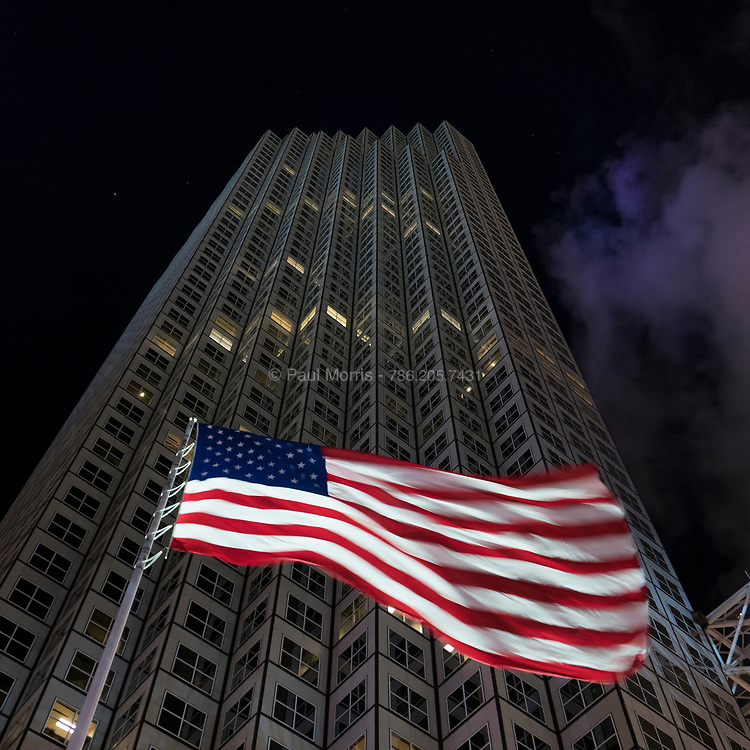 The American Flag waves on Biscayne Boulivard for New Years Eve downtown Miami 2016