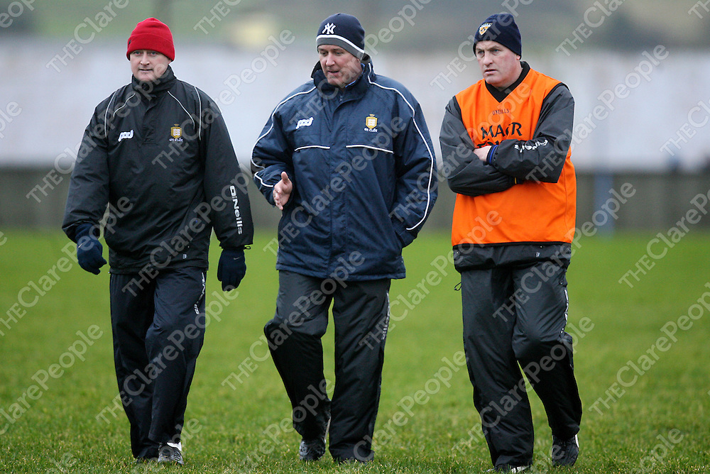 Clare mentors James Hanrahan, Frank Doherty Kieran Kelleher during their McGrath Cup senior football clash with Cork in Cooraclare on Sunday.<br /> Photograph by Yvonne Vaughan