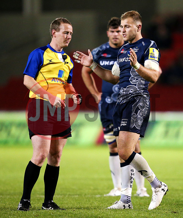 Will Addison of Sale Sharks complains to the referee - Mandatory by-line: Matt McNulty/JMP - 08/09/2017 - RUGBY - AJ Bell Stadium - Sale, England - Sale Sharks v Newcastle Falcons - Aviva Premiership