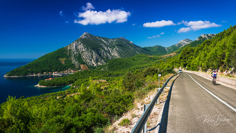 Cycling into Trstenik on the Peljesac Peninsula above the Adriatic Sea, Dalmatia, Croatia