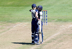 Sarah Taylor of England Women and Tammy Beaumont of England Women hug during their record partnership - Mandatory by-line: Robbie Stephenson/JMP - 05/07/2017 - CRICKET - County Ground - Bristol, United Kingdom - England Women v South Africa Women - ICC Women's World Cup Group Stage