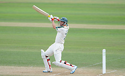 Nottinghamshire's Will Gidman drives the ball - Photo mandatory by-line: Harry Trump/JMP - Mobile: 07966 386802 - 16/06/15 - SPORT - CRICKET - LVCC County Championship - Division One - Day Three - Somerset v Nottinghamshire - The County Ground, Taunton, England.
