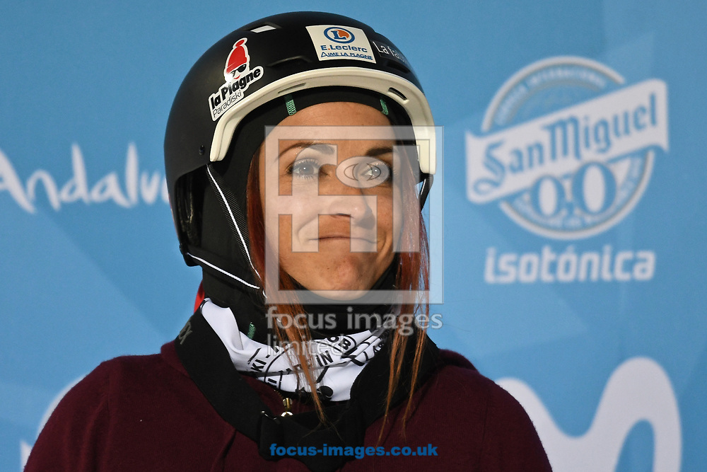 Marie Martinod (FRA) celebrates winning the silver medal following the Women's Half Pipe Final on Day Eleven of the FIS Freestyle Ski &amp; Snowboard World Championships 2017 at Sierra Nevada Ski Station, Granada<br /> Picture by Kristian Kane/Focus Images Ltd +44 7814 482222<br /> 18/03/2017