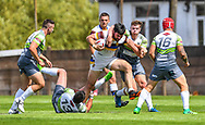 Whitehavens' David Thompson is tackled by West Wales Raiders' Alan Pope<br /> <br /> Photographer Craig Thomas/Replay Images<br /> <br /> Betfred League 1 - West Wales Raiders v Whitehaven  - Saturday 23rd June 2018 - Stebonheath Park - Llanelli<br /> <br /> World Copyright © 2017 Replay Images. All rights reserved. info@replayimages.co.uk - www.replayimages.co.uk