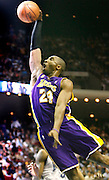 Los Angeles Lakers guard Kobe Bryant (24)  Slam Dunks during the first half of a basketball game in Orlando Fla. on Friday, Feb., 8, 2008. The Lakers won 117-114. (Photo/Donald Montague)