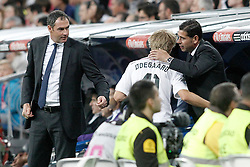 23.05.2015, Estadio Santiago Bernabeu, Madrid, ESP, Primera Division, Real Madrid vs FC Getafe, 38. Runde, im Bild Real Madrid's Odegaard with the second coachs Paul Clement (l) and Fernando Hierro (r) // during the Spanish Primera Division 38th round match between Real Madrid CF and Getafe FCat the Estadio Santiago Bernabeu in Madrid, Spain on 2015/05/23. EXPA Pictures &copy; 2015, PhotoCredit: EXPA/ Alterphotos/ Acero<br /> <br /> *****ATTENTION - OUT of ESP, SUI*****