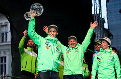 Peter Prevc, Goran Janus and Urban Jarc during reception of Slovenian Winter athletes after the end of season 2015/16, on March 22, 2016 in Kongresni trg, Ljubljana, Slovenia. Photo by Matic Klansek Velej / Sportida
