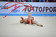 Rizatdinova Anna during qualifying at ribbon in Pesaro World Cup at Adriatic Arena on April 27, 2013. Anna was born July 16, 1993 in Simferopol, she is a Ukrainian individual rhythmic gymnast.