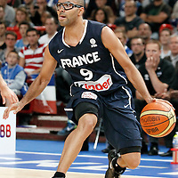 15 July 2012: Tony Parker of Team France dribbles during a pre-Olympic exhibition game won 75-70 by Spain over France, at the Palais Omnisports de Paris Bercy, in Paris, France.