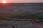 GOBI DESERT, MONGOLIA..08/29/2001.Mount Burkhan Khailaast. Nomad Tours camp at sunrise..(Photo by Heimo Aga).