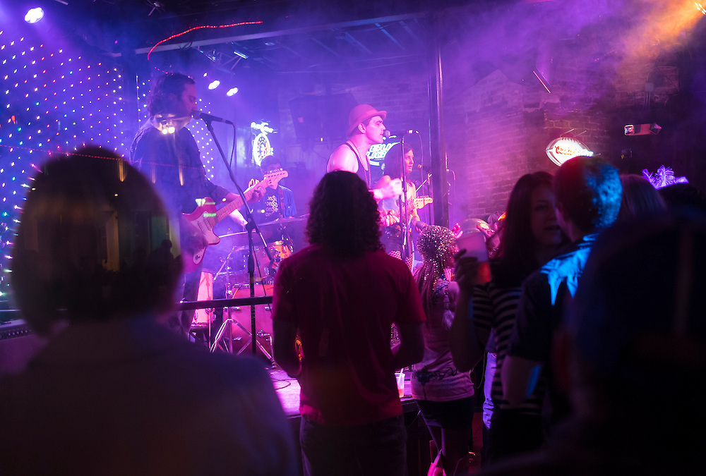 NEW ORLEANS - CIRCA FEBRUARY 2014: Music group performing in a nightclub during the Mardi Gras celebration in the French Quarter in New Orleans