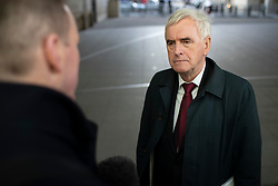 © Licensed to London News Pictures. 08/12/2019. London, UK. Shadow Chancellor of the Exchequer John McDonnell speaks to the media after appearing on The Andrew Marr Show. Photo credit: George Cracknell Wright/LNP
