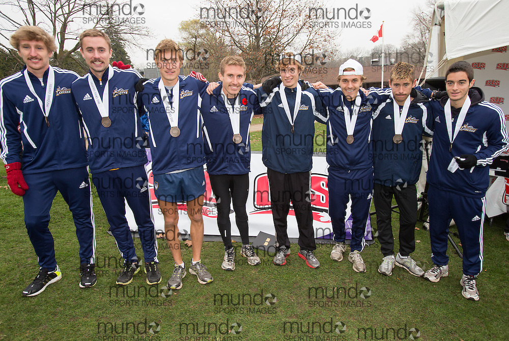London, Ontario ---2012-11-10--- The Windsor Lancers Men's team poses with their Bronze medals at the 2012 CIS Cross Country Championships at Thames Valley Golf Course in London, Ontario, November 10, 2012. .GEOFF ROBINS Mundo Sport Images