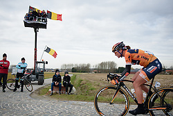 Chantal Blaak (Boels Dolmans) on the charge across the cobbles at the 124.2 km Omloop Het Nieuwsblad - Elite Women on February 25th 2017, starting and finishing in Gent, Belgium. (Photo by Sean Robinson/Velofocus)