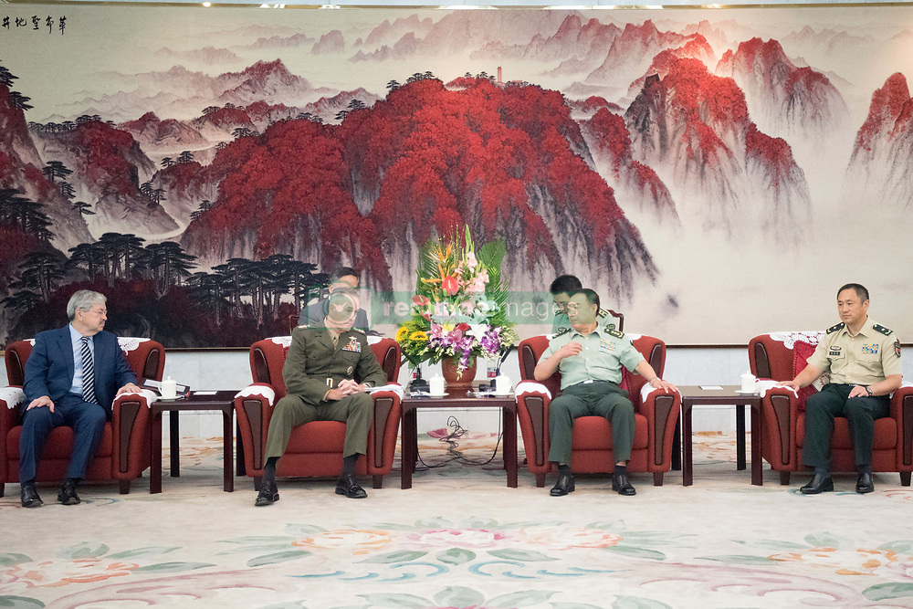 August 17, 2017 - Beijing, China - U.S. Chairman of the Joint Chiefs Gen. Joseph Dunford, left, meets with Chinese Gen. Fan Chanlong, vice chairman of the Central Military Commission, at the headquarters of the Peoples Liberation Army August 17, 2017 in Beijing, China. Dunford is in China to discuss defusing the situation in North Korea. (Credit Image: © Dominique Pineiro/Planet Pix via ZUMA Wire)