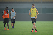 BEIJING, CHINA - AUGUST 01: (CHINA OUT) Zlatan Ibrahimovic of Paris Saint-Germain attends a training session ahead of the French Super Cup football match against Guingamp at the Workers Stadium on August 1, 2014 in Beijing, China. (Photo by ChinaFotoPress)***_***