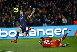 February 17, 2018 - Paris, France - Edinson Cavani scores during the Ligue 1 match between Paris saint-Germain and Strasbourg at Parc des Princes on February 17, 2018 in Paris, France. (Credit Image: © Mehdi Taamallah/NurPhoto via ZUMA Press)