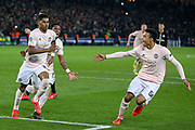 GOAL - Manchester United Forward Marcus Rashford celebrates his penalty goal 1-3 with Manchester United forward Mason Greenwood during the Champions League Round of 16 2nd leg match between Paris Saint-Germain and Manchester United at Parc des Princes, Paris, France on 6 March 2019.