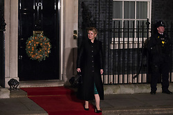 London, UK. 3 December, 2019. Zuzana Čaputová, President of Slovakia, leaves following a reception for NATO leaders at 10 Downing Street on the eve of the military alliance's 70th anniversary summit at a luxury hotel near Watford.
