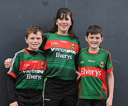 Cousins Cillian, Chloe and Noel Gallagher at McHale park for the All Ireland qualifer against Derry.<br />Pic Conor McKeown
